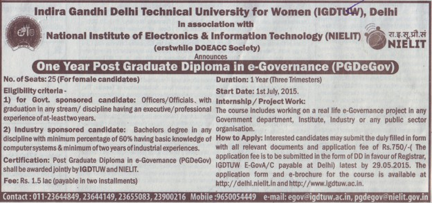 PGD in eGovernance (Indira Gandhi Delhi Technical University for Women (IGDTUW IGIT))