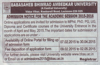 M Phill and PhD Programme (Babasaheb Bhimrao Ambedkar University)