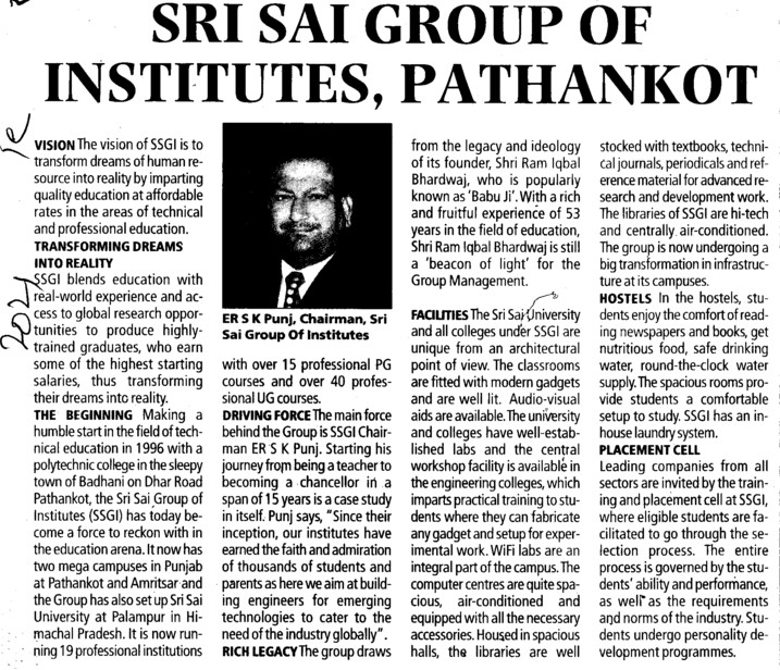 Message of Chairman SK Punj (Sri Sai Group of Instituties (SSGI))