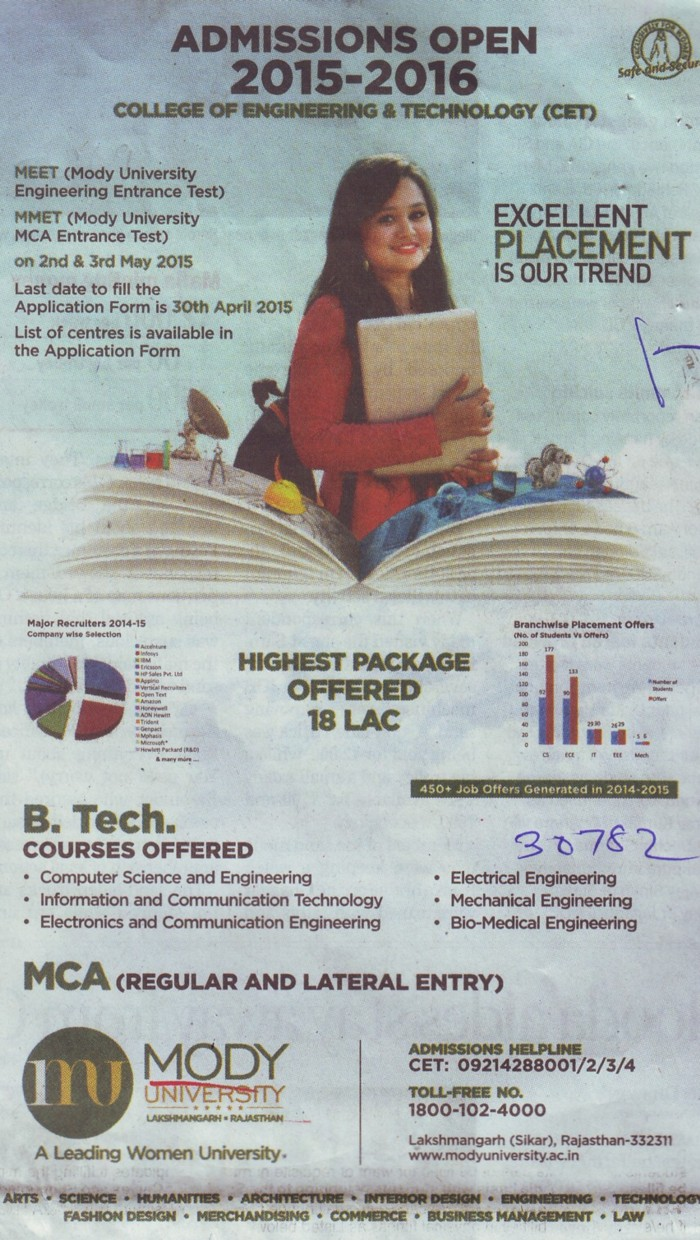 B Tech and MCA Programme (Modi University of Science and Technology (MITS))
