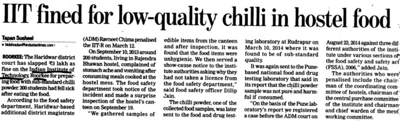 IIT fined for low quality chilli in hostel food (Indian Institute of Technology (IITR))