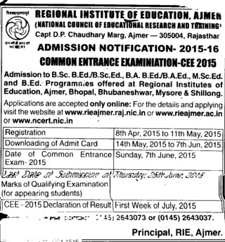 BSc and B Ed course (REGIONAL INSTITUTE OF EDUCATION)