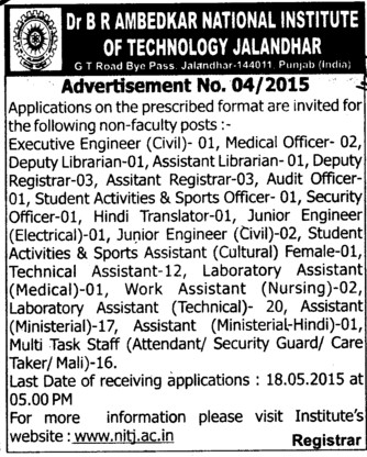 Executive Engineer and Medical Officer (Dr BR Ambedkar National Institute of Technology (NIT))