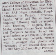Teaching Staff for Maths and English (Attri College of Education for Girls)