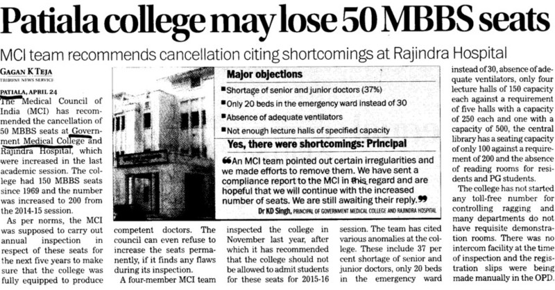 Patiala College may lose 50 MBBS seats (Government Medical College and Rajindra Hospital)