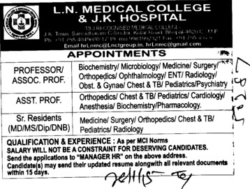 Senior Resident and Asstt Professor (LN Medical College and JK Hospital)