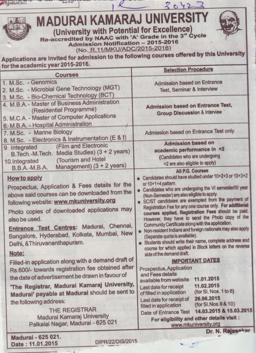 MSc in Marine Biology (Madurai Kamaraj University)
