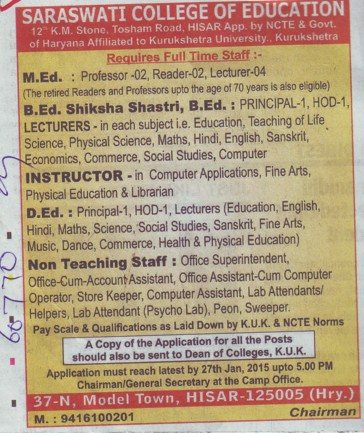 Instructor for D Ed (Sarswati College of Education)