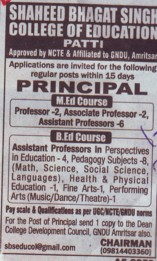 Principal for M Ed course (Shaheed Bhagat Singh College of Education)