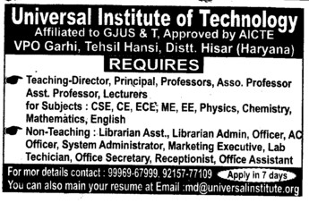 Associate Professor and Lecturer (Universal Institute of Technology)