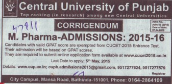 M Pharm course (Central University of Punjab)