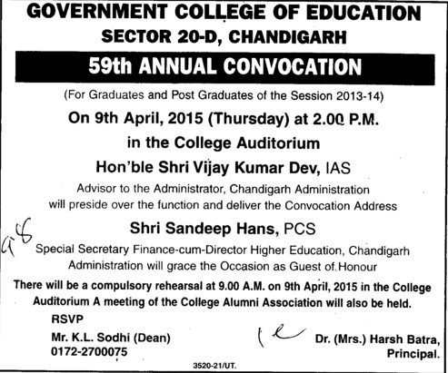 59th Annual Convocation held (Government College of Education (Sector 20))