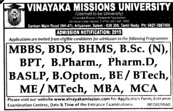 MBBS and BDS Course (Vinayaka Missions University)