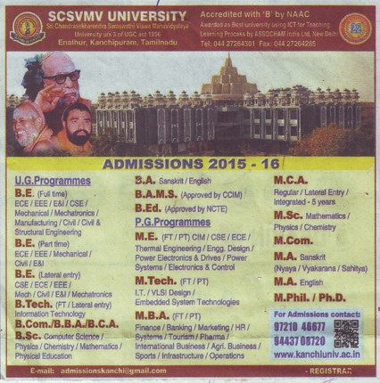 BE, M Tech and MBA (Sri Chandrasekharendra Saraswathi Vishwa Mahavidyalaya Deemed University)