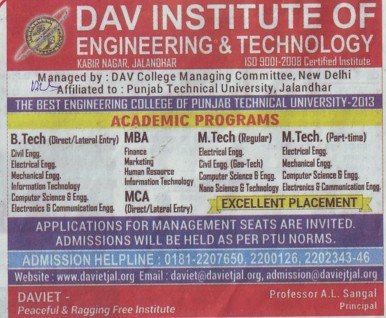 MBA in Finance and Marketing (DAV Institute of Engineering and Technology DAVIET)