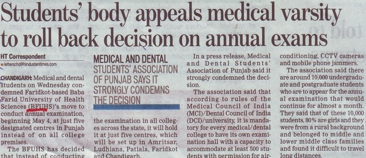 Students body appeal medical varsity to roll back decision on annual exams (Baba Farid University of Health Sciences (BFUHS))