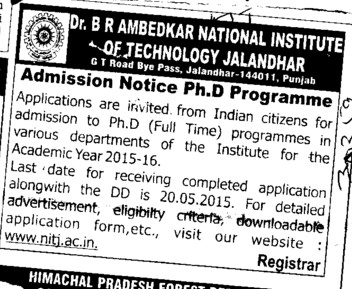PhD Programme (Dr BR Ambedkar National Institute of Technology (NIT))