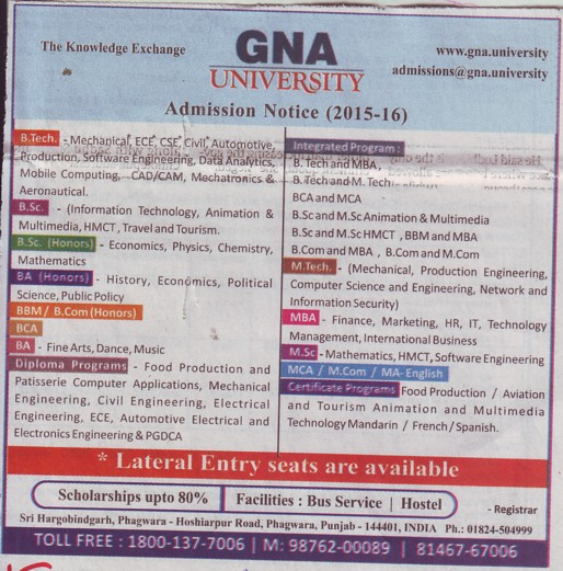 BSc in Information Technology (GNA University)