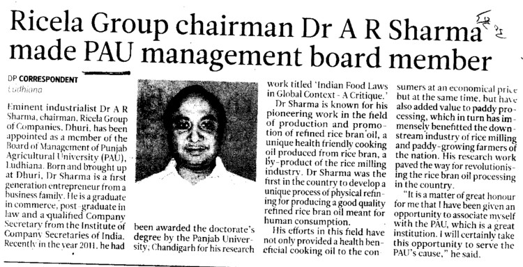 Ricela group chairman Dr AR Sharma made PAU management board member (Punjab Agricultural University PAU)