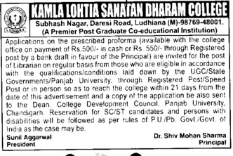Librarian on regular basis (Kamla Lohtia Sanatan Dharam College)