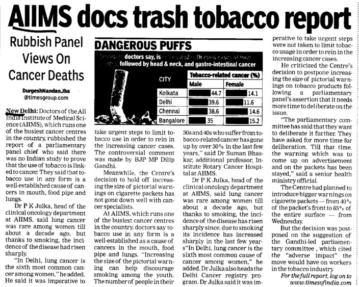 AIIMS docs trash tobacco report (All India Institute of Medical Sciences (AIIMS))