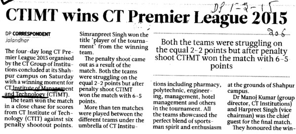 CTIMT wins CT Premier League 2015 (CT Institute of Management and Information Technology)