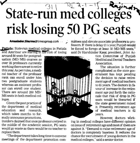 State run med colleges risk losing 50 PG seats (Government Medical College and Rajindra Hospital)