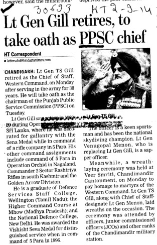 Lt Gen Gill retires, to take oath as PPSC chief (Punjab Public Service Commission (PPSC))