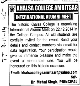 International Alumni meet held (Khalsa College)