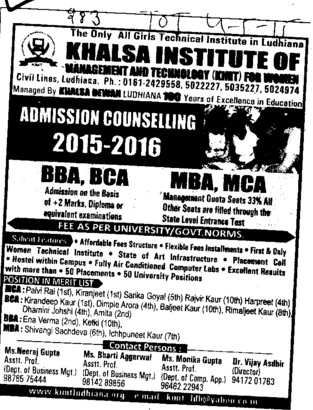 BBA and BCA course (Khalsa Institute of Management and Technology for Women)