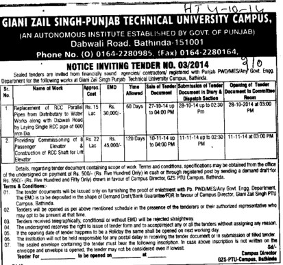 Replacement of RCC Parallel pipes (Giani Zail Singh College Punjab Technical University (GZS PTU) Campus)