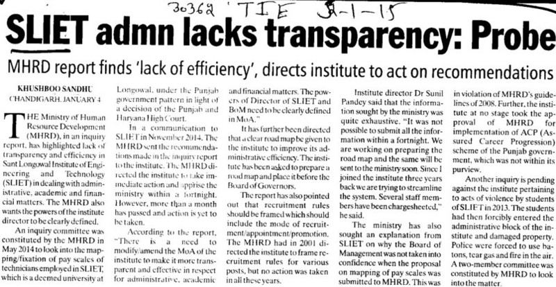 SLIET admn lacks transparency, Probe (Sant Longowal Institute of Engineering and Technology SLIET)