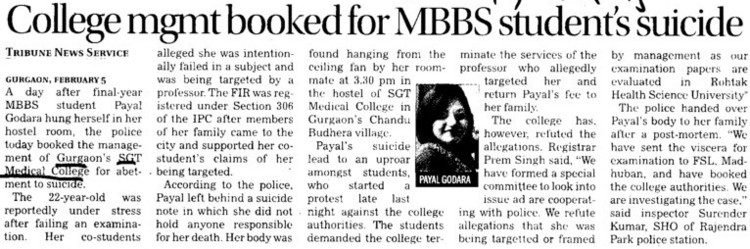 College mgmt booked for MBBS students suicide (SGT Medical College)