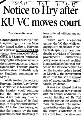 Notice to Hry after KU VC moves court (Kurukshetra University)