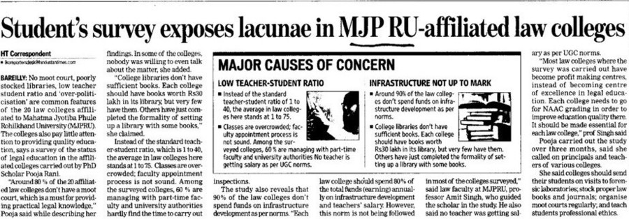 Students survey exposes lacunae in MJP RU affiliated law colleged (Mahatma Jyotiba Phule Rohilkhand University (MJPRU))