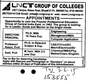 Director and Asstt Professor (LNCT Group of Colleges)