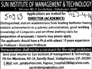 Director for Academics (Sun Institute of Management and Technology)
