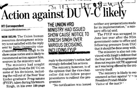 Action against DU VC likely (Delhi University)