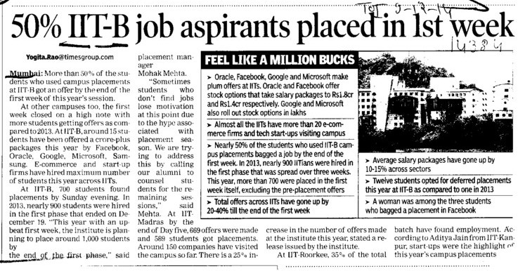 50 percent IIT B job aspirants placed in 1st week (Indian Institute of Technology (IITB))