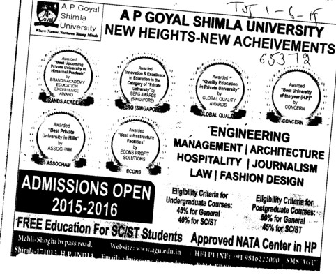 B Tech and MBA (APG Shimla University)