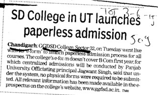 SD College in UT launches paperless admission (GGDSD College)