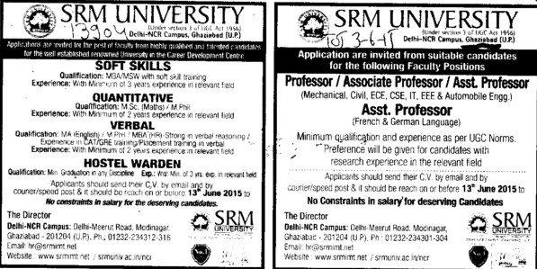 MA in English and MBA (SRM University Delhi NCR Campus (SRM Institute of Management and Technology (SRMIMT)))
