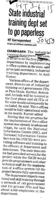 State Industrial training dept set to go paperless (Department of Industrial Training and Vocational Education Haryana)