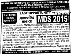 MDS course (Dashmesh Institute of Research and Dental Sciences)