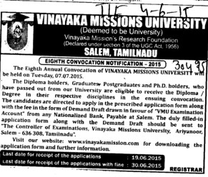 18th Convocation 2015 (Vinayaka Missions University)