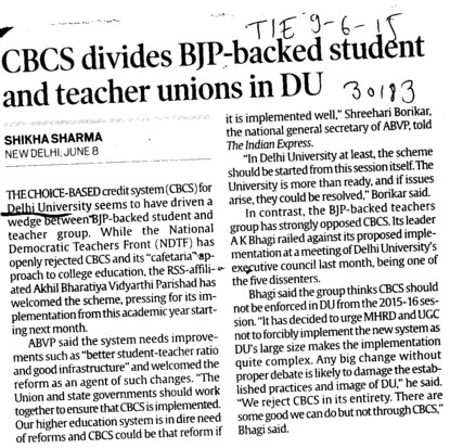 CBCS divides BJP backed students and teacher unions in DU (Delhi University)