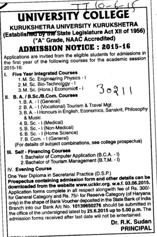 BSc in Home Science (Kurukshetra University)