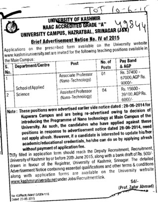 Asstt Professor for Nano Technology (University of Kashmir Hazbartbal)