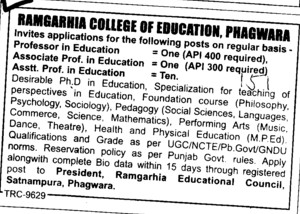 Associate Professor in Education (Ramgarhia College of Education)