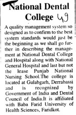 Profile of National Dental College (National Dental College and Hospital Gulabgarh)